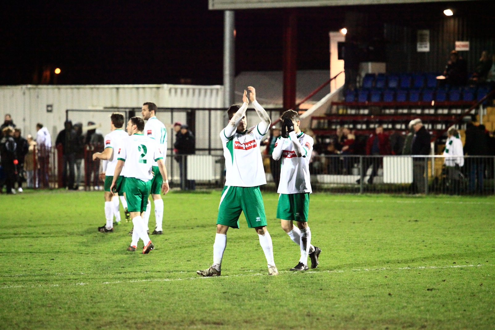 Bognor players thanking their away fans
