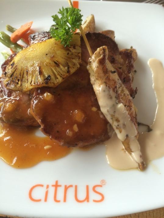 Mixture of Gammon and Chicken. Sri Lankan Lunch.Copyright Chris Bushe