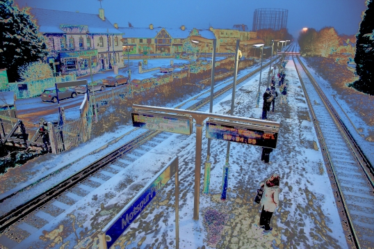 Painting of Motspur Park Station in Surrey 2015 Winter