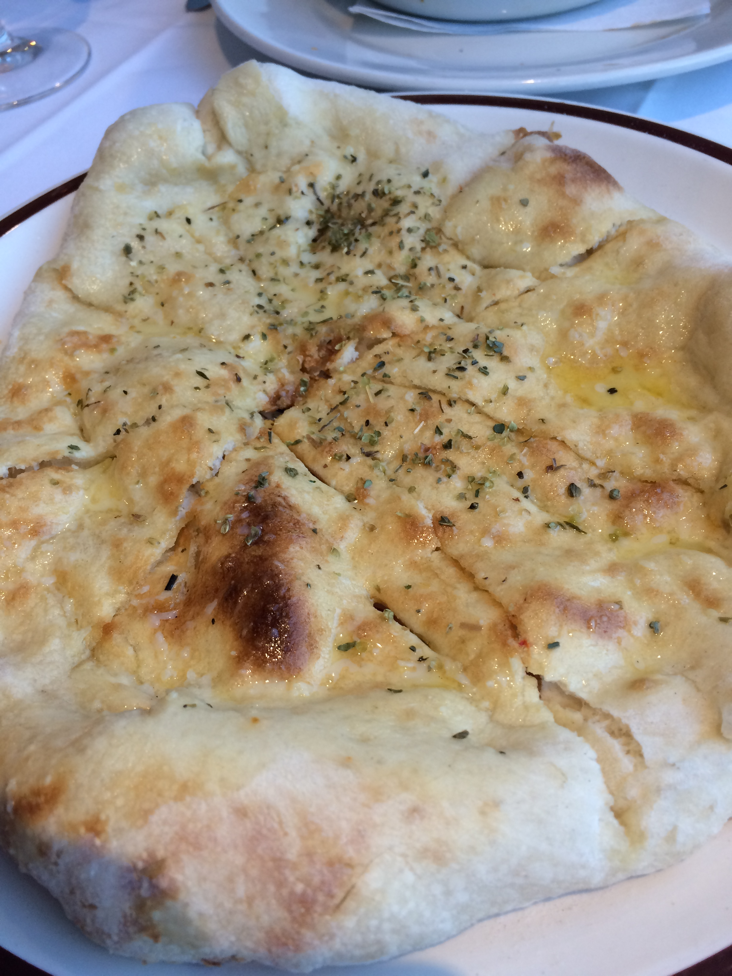 Garlic pizza bread. A nice starter