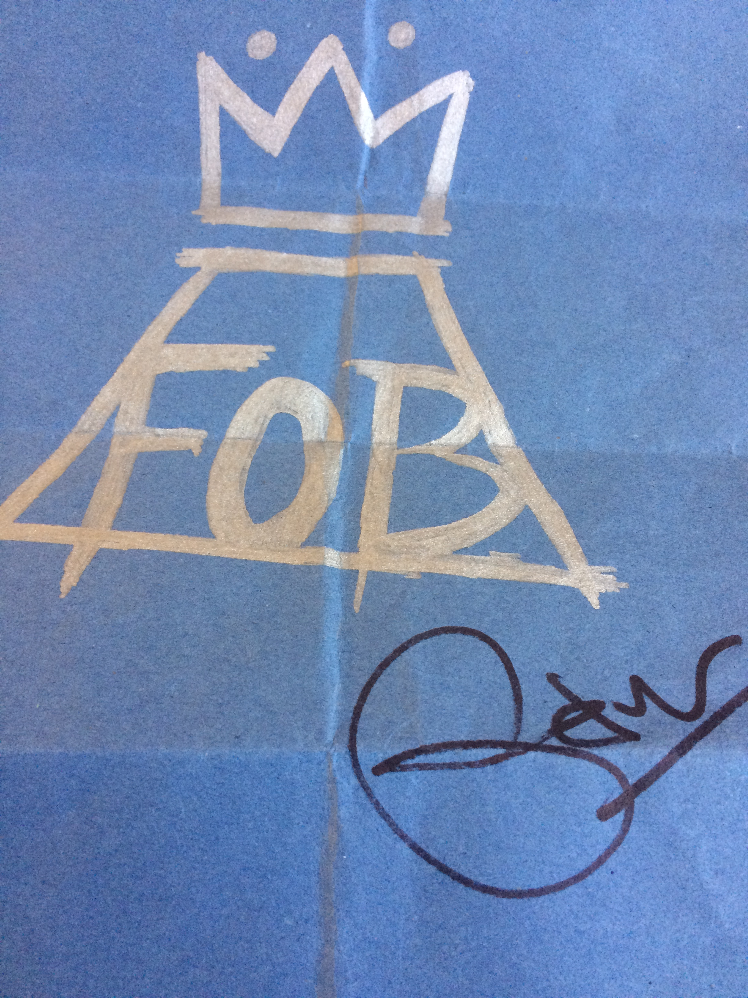 Signed Pete Wentz Drawing. Copyright Chris Bushe 2015