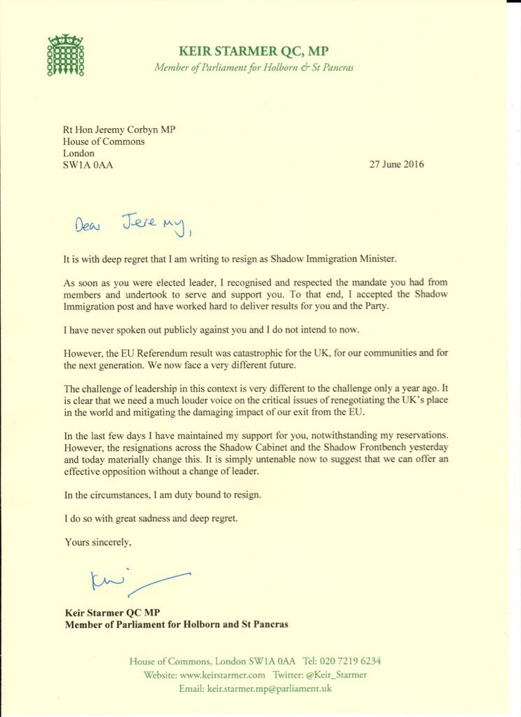 Keir Starmer Resignation Letter. How to write a resignation ...